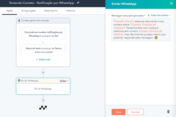 Exemplo de Workflow da HubSpot com WhatsApp