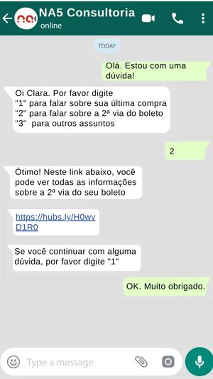 Exemplo de atendimento com chatbot para WhatsApp