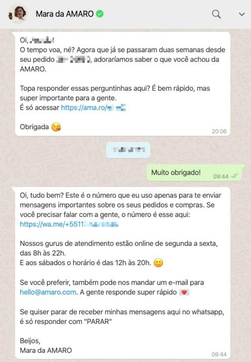 Exemplo da AMARO realizando o transbordo de chatbot de WhatsApp para o atendimento humano