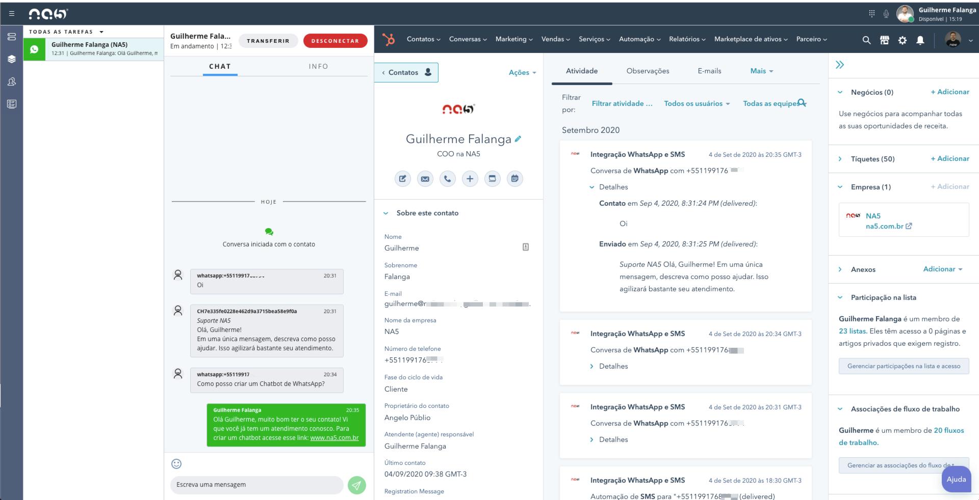 Exemplo da interface de atendimento com a integração de WhatsApp e HubSpot da Plataforma NA5