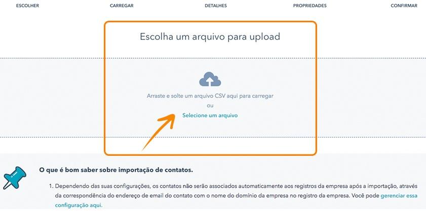 Faça Upload do arquivo CSV