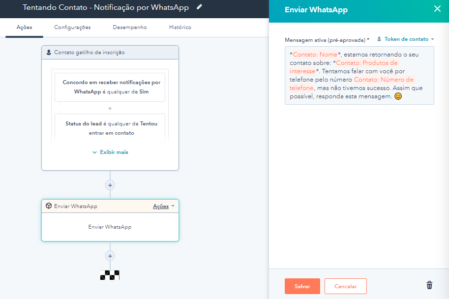 Exemplo de Workflow da NA5 com envio de WhatsApp na régua de relacionamento.