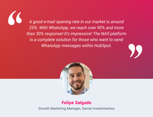 HubSpot and WhatsApp integration testimonial - Felipe Salgado