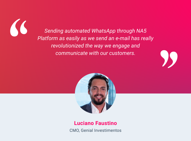 HubSpot and WhatsApp integration testimonial - Luciano Faustino
